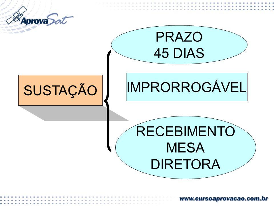 SUSTAÇÃO PRAZO 45 DIAS IMPRORROGÁVEL RECEBIMENTO MESA DIRETORA