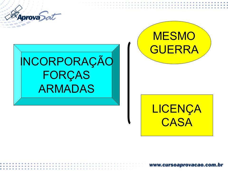 INCORPORAÇÃO FORÇAS ARMADAS MESMO GUERRA LICENÇA CASA