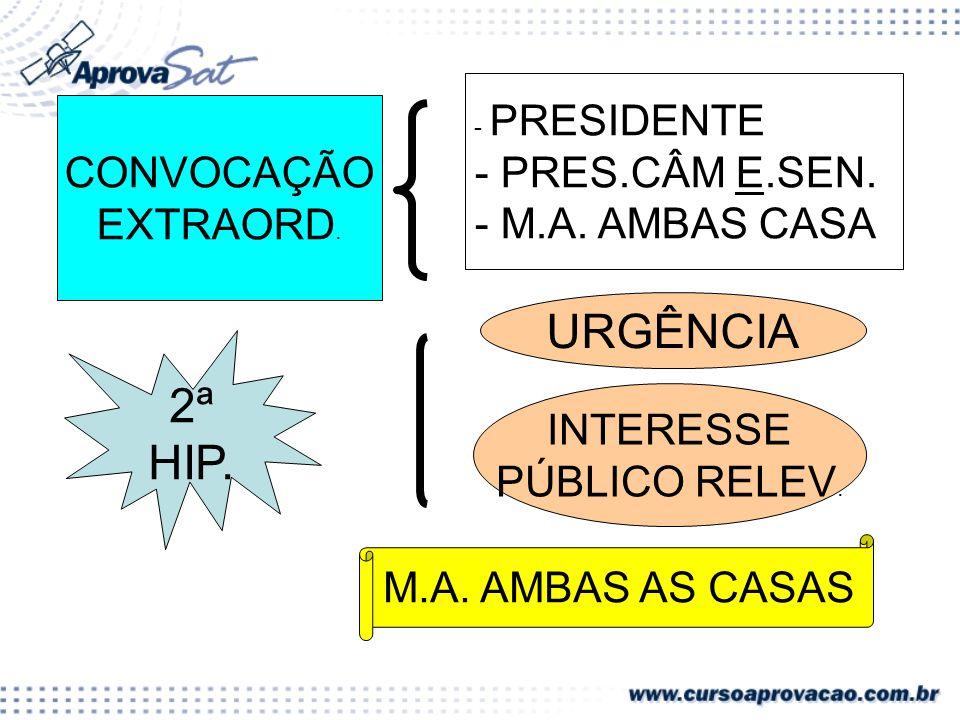 CONVOCAÇÃO EXTRAORD.2ª HIP. - PRESIDENTE - PRES.CÂM E.SEN.