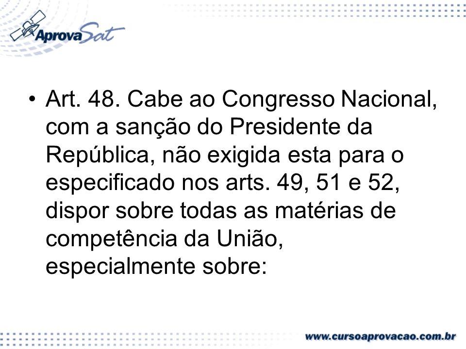 Art.49. É da competência exclusiva do Congresso Nacional:...