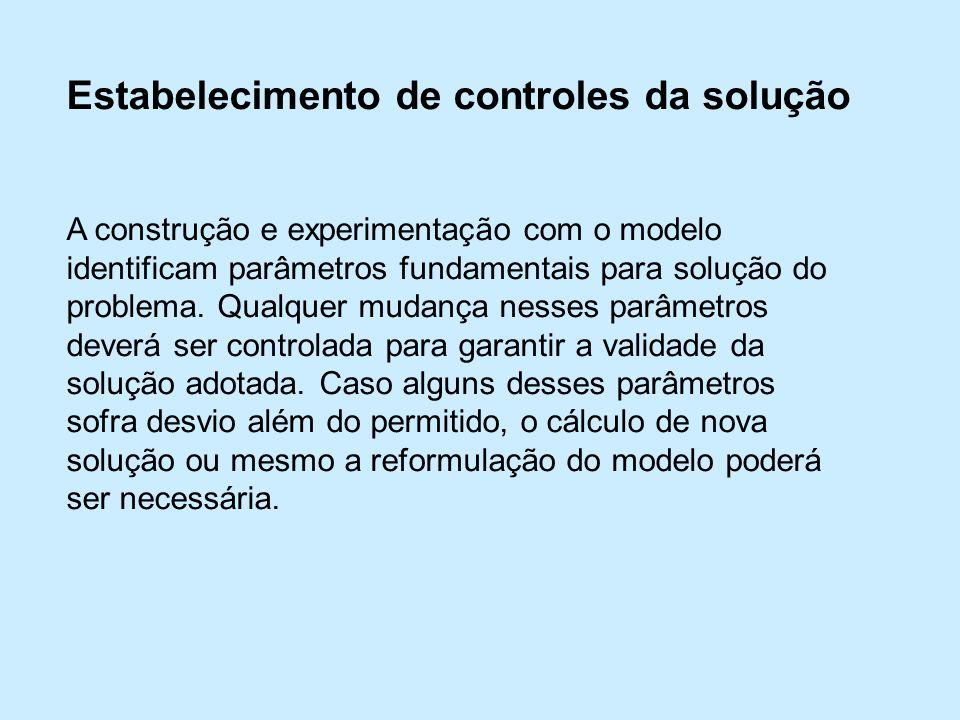 Estabelecimento de controles da solução A construção e experimentação com o modelo identificam parâmetros fundamentais para solução do problema.
