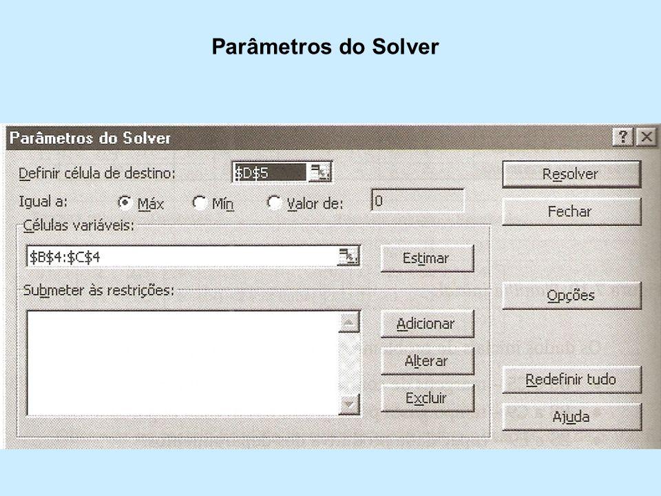 Parâmetros do Solver