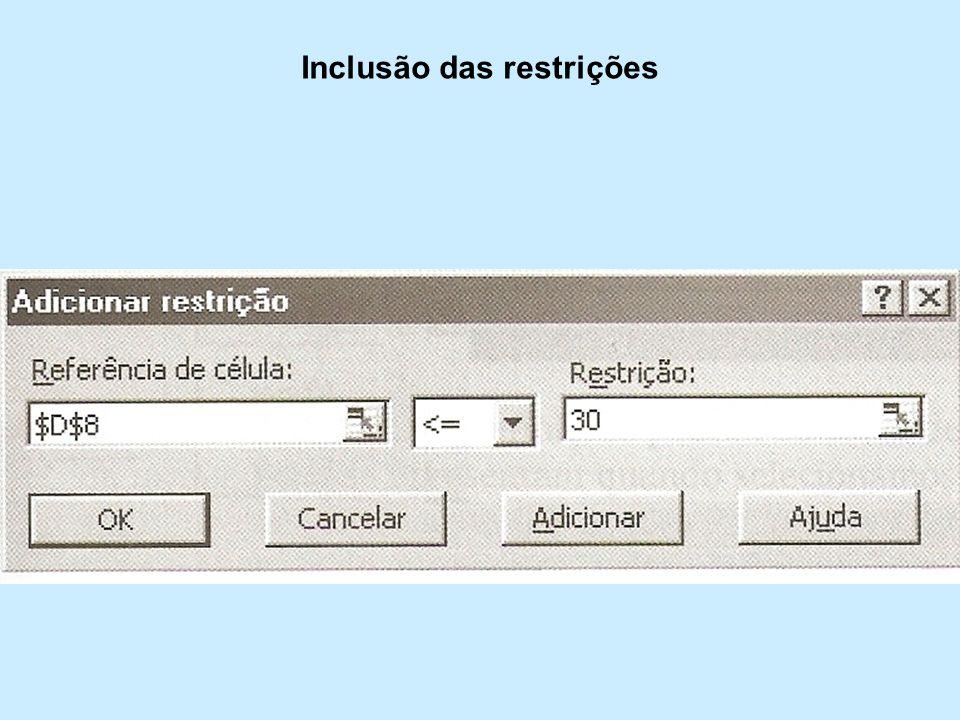 Inclusão das restrições