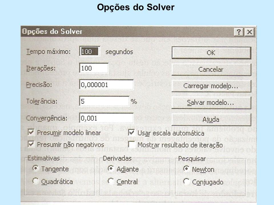 Opções do Solver