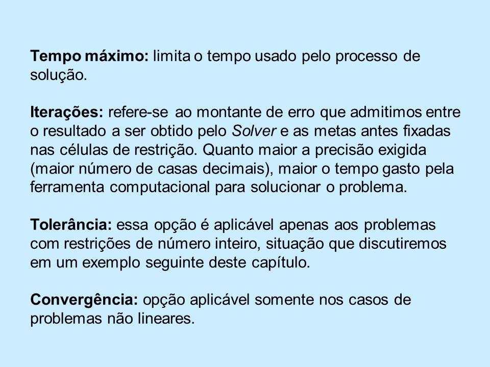 Tempo máximo: limita o tempo usado pelo processo de solução.