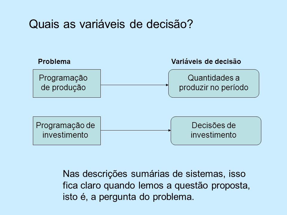 Quais as variáveis de decisão.