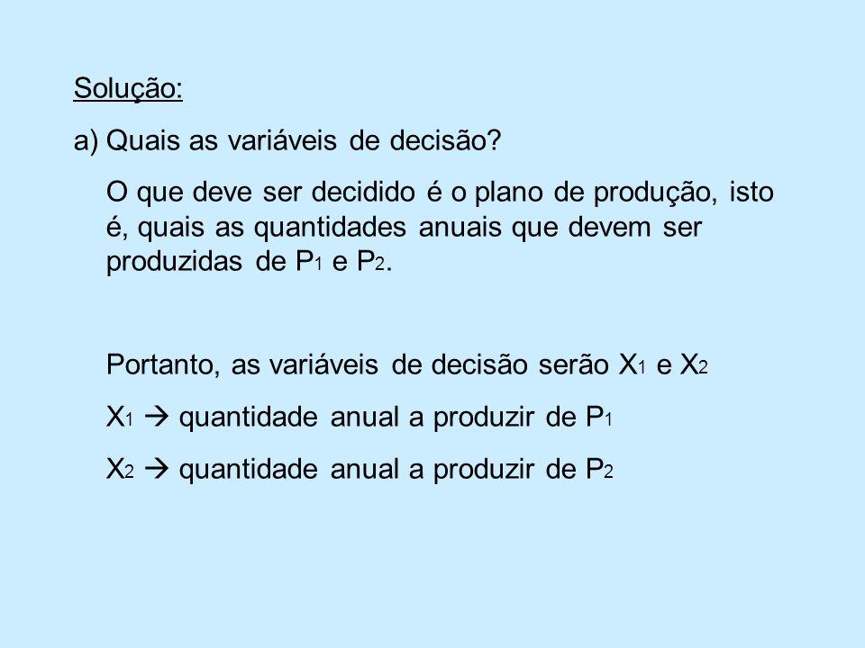 Solução: a)Quais as variáveis de decisão.