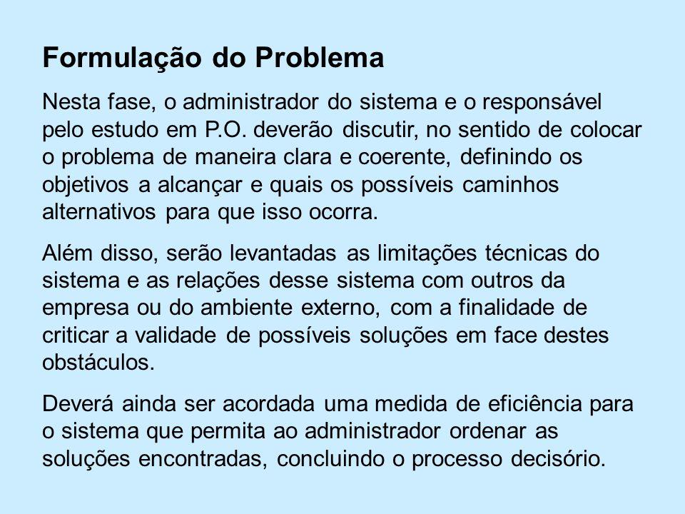 Formulação do Problema Nesta fase, o administrador do sistema e o responsável pelo estudo em P.O.