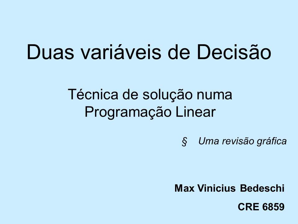 Duas variáveis de Decisão Técnica de solução numa Programação Linear § Uma revisão gráfica Max Vinicius Bedeschi CRE 6859