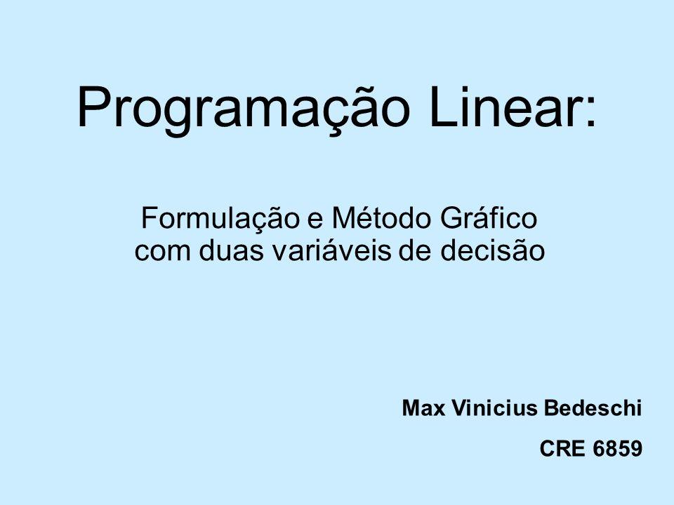 Programação Linear: Formulação e Método Gráfico com duas variáveis de decisão Max Vinicius Bedeschi CRE 6859