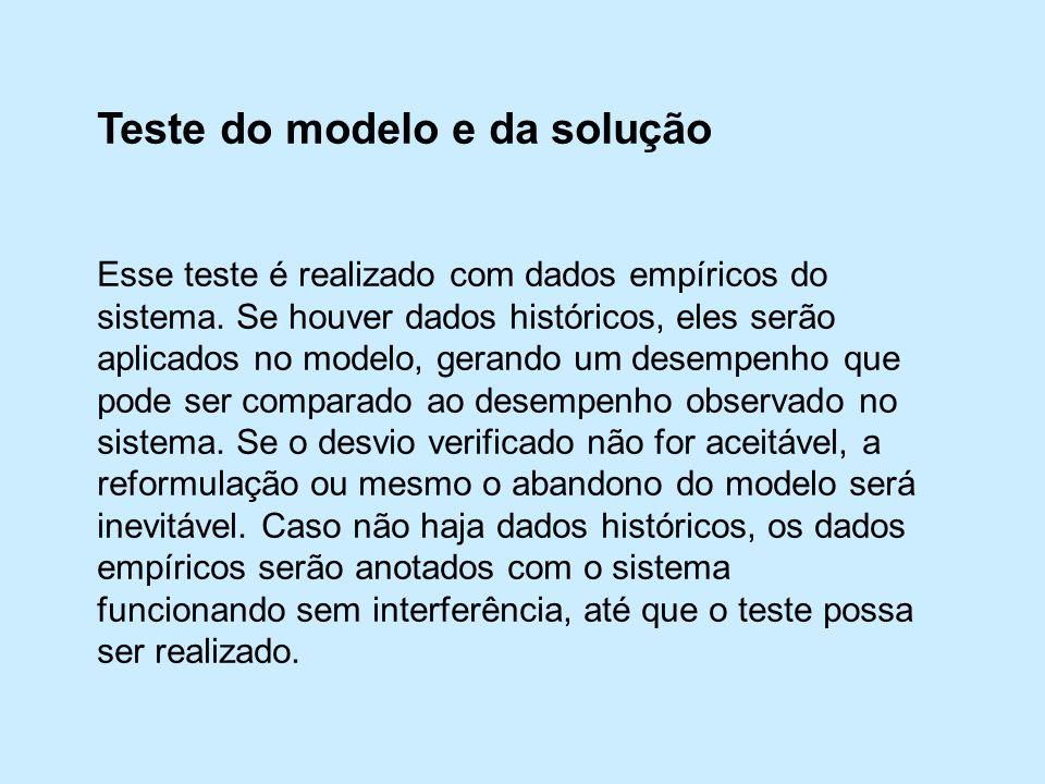Teste do modelo e da solução Esse teste é realizado com dados empíricos do sistema.