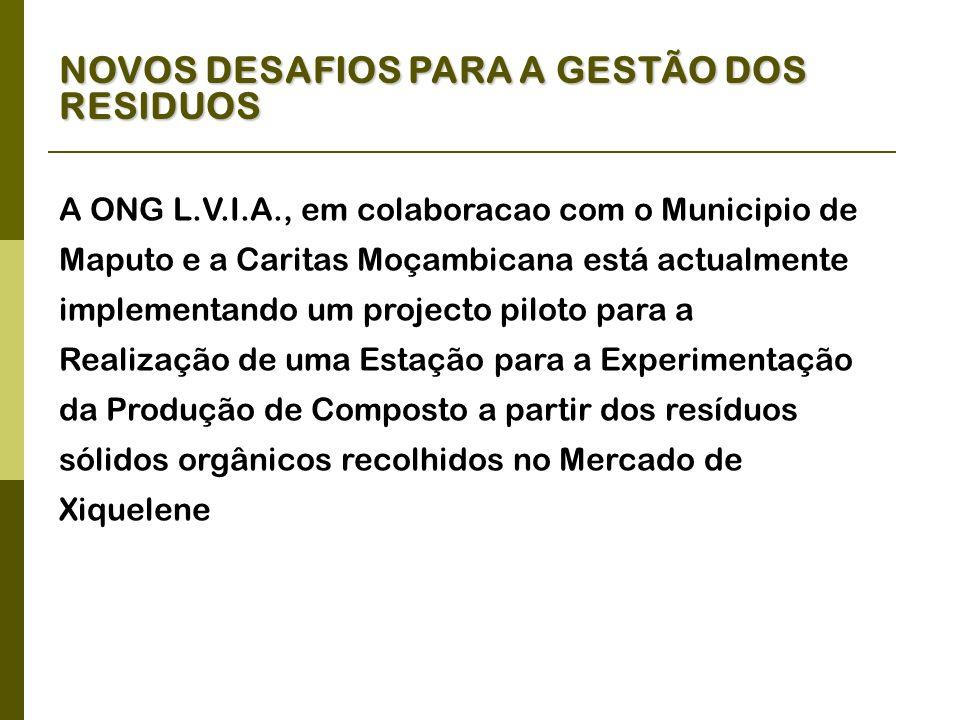 NOVOS DESAFIOS PARA A GESTÃO DOS RESIDUOS A ONG L.V.I.A., em colaboracao com o Municipio de Maputo e a Caritas Moçambicana está actualmente implementando um projecto piloto para a Realização de uma Estação para a Experimentação da Produção de Composto a partir dos resíduos sólidos orgânicos recolhidos no Mercado de Xiquelene