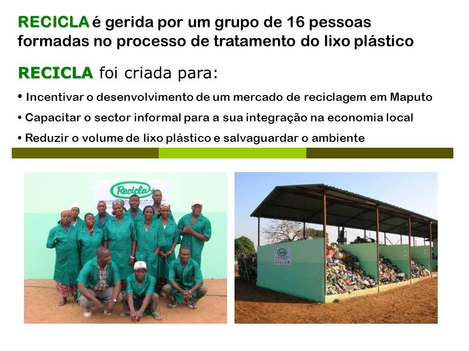 RECICLA RECICLA é gerida por um grupo de 16 pessoas formadas no processo de tratamento do lixo plástico RECICLA RECICLA foi criada para: Incentivar o