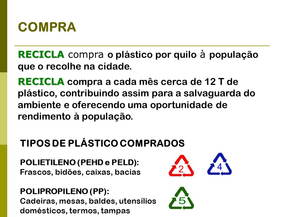 COMPRA RECICLA RECICLA compra o plástico por quilo à população que o recolhe na cidade. RECICLA RECICLA compra a cada mês cerca de 12 T de plástico, c