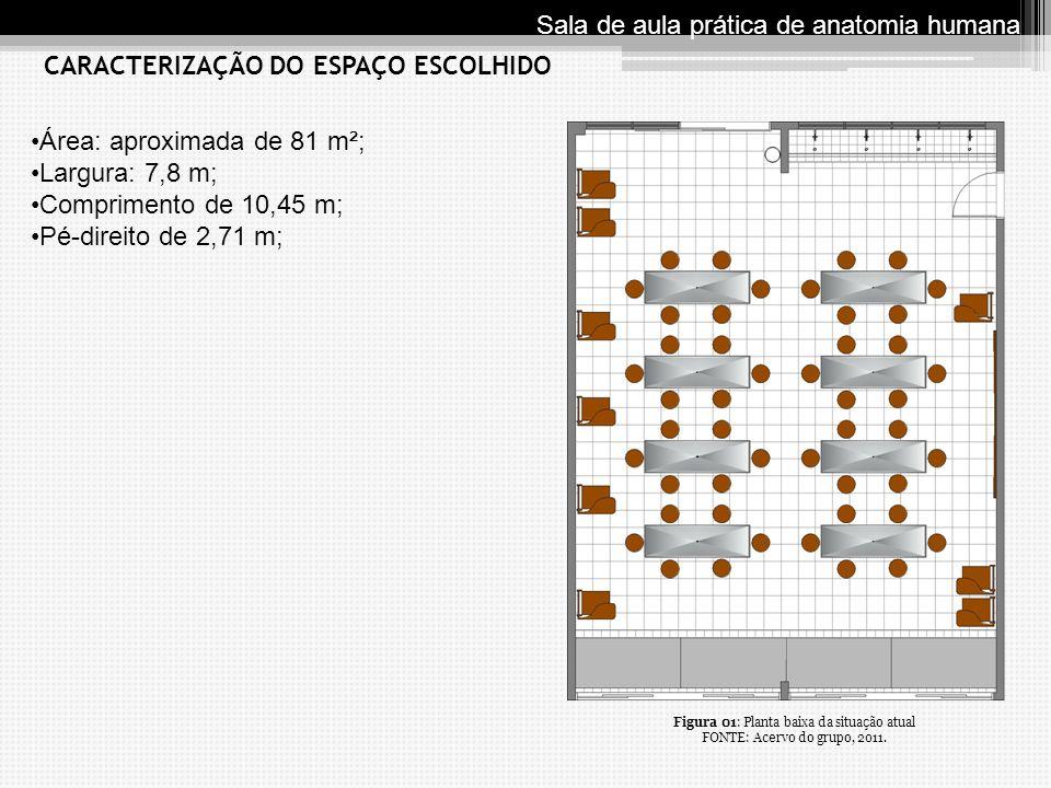 Área: aproximada de 81 m²; Largura: 7,8 m; Comprimento de 10,45 m; Pé-direito de 2,71 m; CARACTERIZAÇÃO DO ESPAÇO ESCOLHIDO Sala de aula prática de an