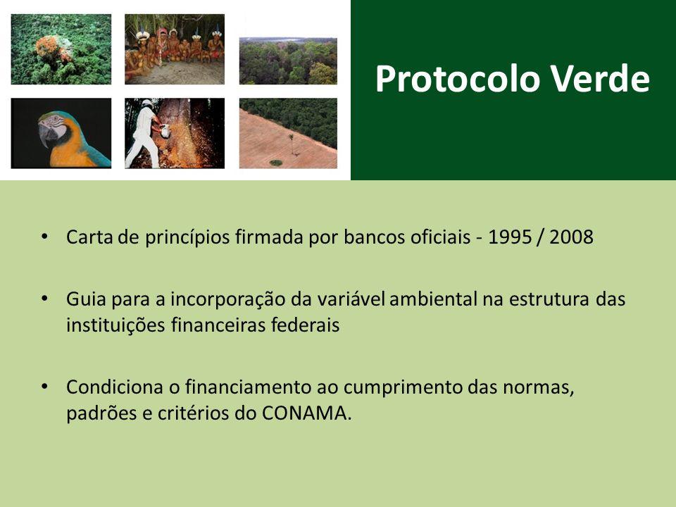 Protocolo Verde Carta de princípios firmada por bancos oficiais - 1995 / 2008 Guia para a incorporação da variável ambiental na estrutura das instituições financeiras federais Condiciona o financiamento ao cumprimento das normas, padrões e critérios do CONAMA.