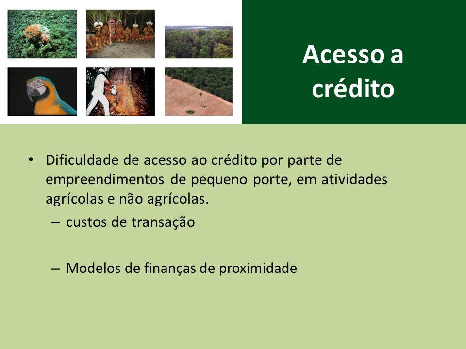 Acesso a crédito Dificuldade de acesso ao crédito por parte de empreendimentos de pequeno porte, em atividades agrícolas e não agrícolas.
