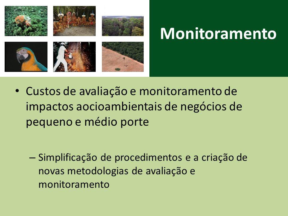 Monitoramento Custos de avaliação e monitoramento de impactos aocioambientais de negócios de pequeno e médio porte – Simplificação de procedimentos e a criação de novas metodologias de avaliação e monitoramento