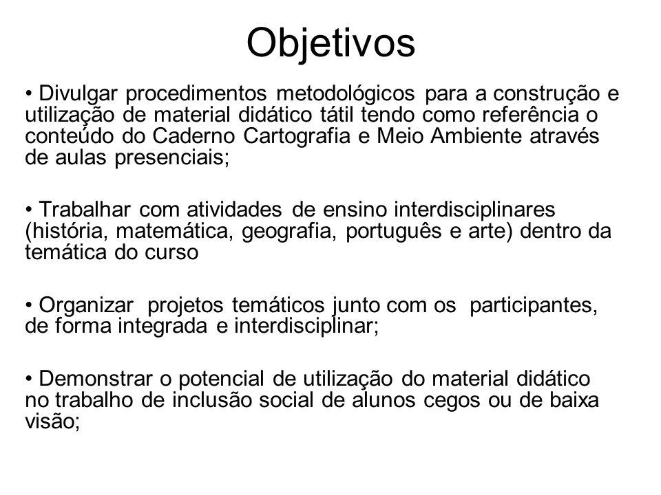 Objetivos Divulgar procedimentos metodológicos para a construção e utilização de material didático tátil tendo como referência o conteúdo do Caderno C