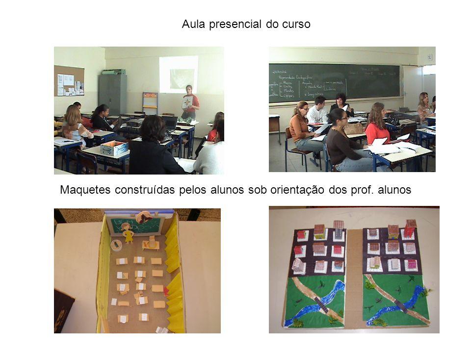 Aula presencial do curso Maquetes construídas pelos alunos sob orientação dos prof. alunos