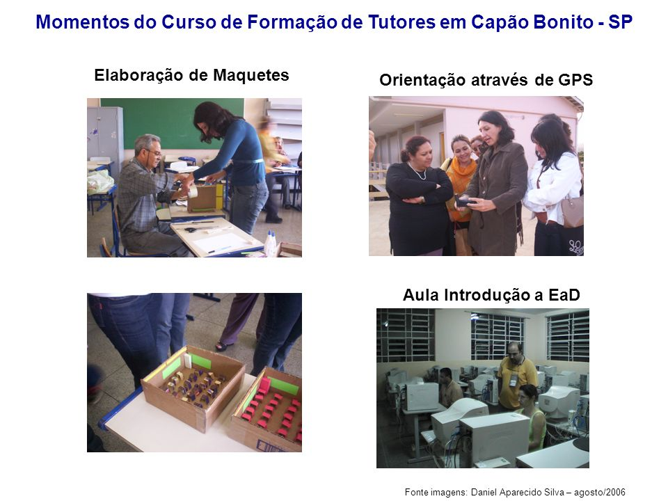 Fonte imagens: Ana Elisa de Almeida Silva (2006) Momentos do Curso de Formação de Tutores em Capão Bonito - SP Maquete em Escala elaborada pelos alunos sob orientação de prof.