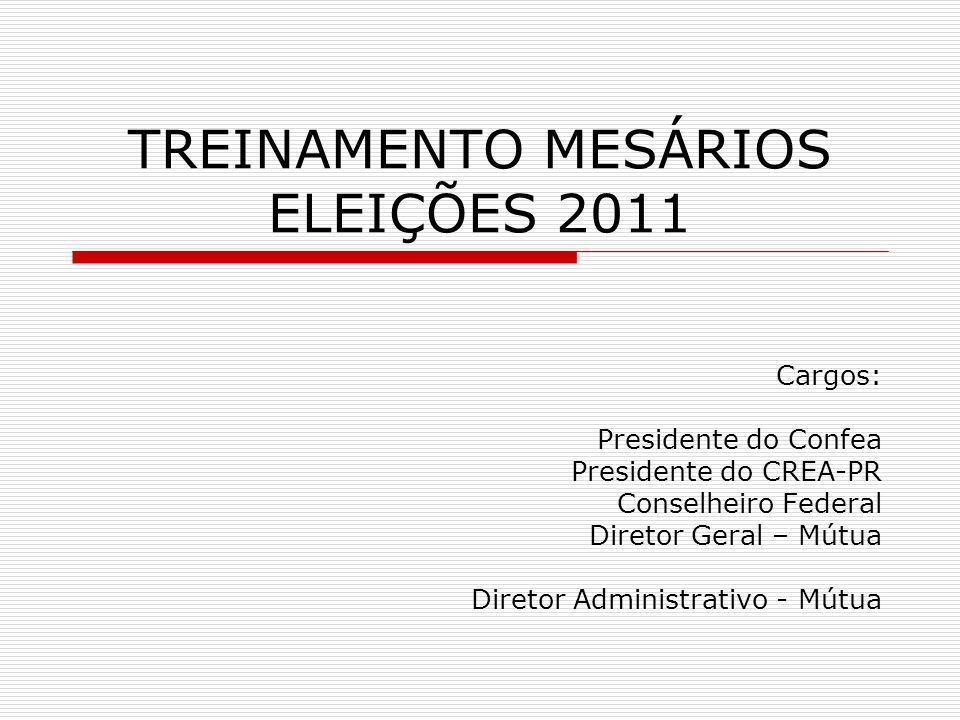 TREINAMENTO MESÁRIOS ELEIÇÕES 2011 Cargos: Presidente do Confea Presidente do CREA-PR Conselheiro Federal Diretor Geral – Mútua Diretor Administrativo
