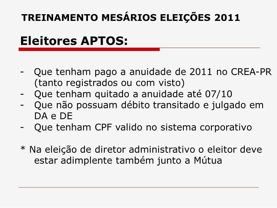 TREINAMENTO MESÁRIOS ELEIÇÕES 2011 Eleitores APTOS: - Que tenham pago a anuidade de 2011 no CREA-PR (tanto registrados ou com visto) -Que tenham quita