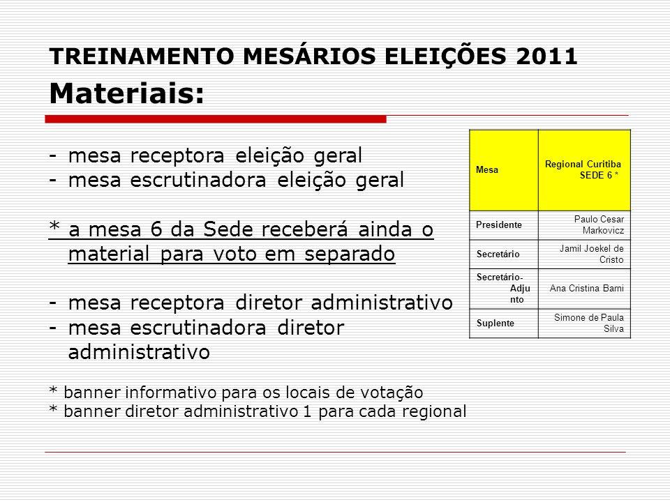 TREINAMENTO MESÁRIOS ELEIÇÕES 2011 Materiais: -mesa receptora eleição geral -mesa escrutinadora eleição geral * a mesa 6 da Sede receberá ainda o mate