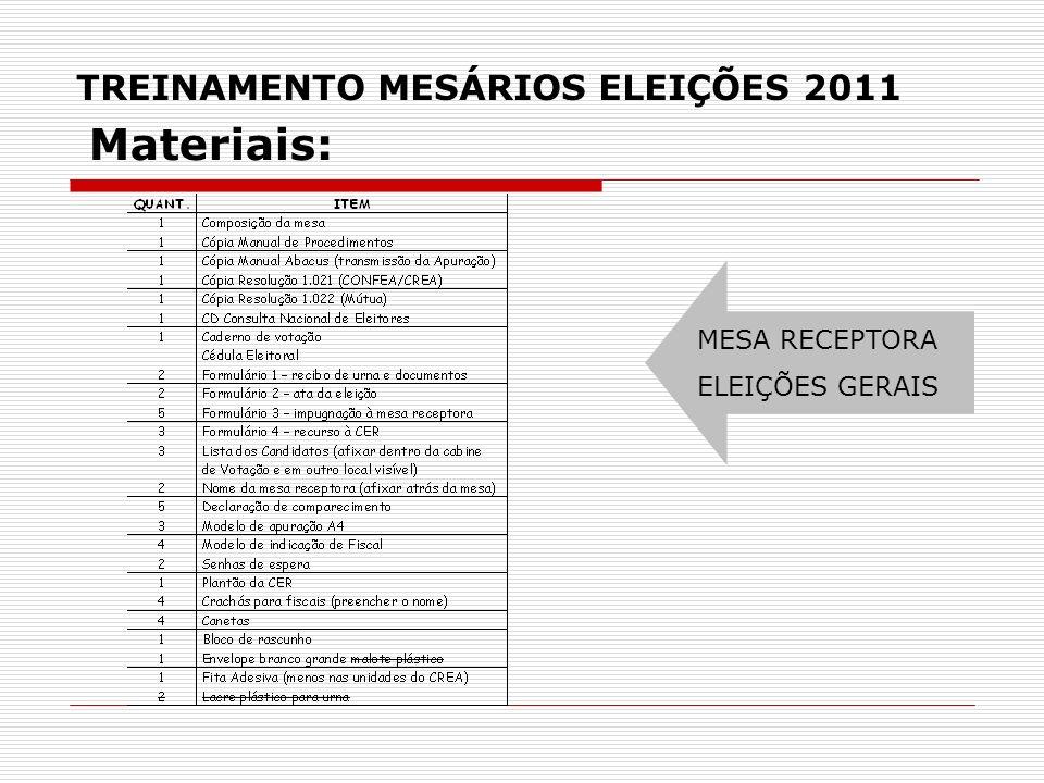 TREINAMENTO MESÁRIOS ELEIÇÕES 2011 MESA RECEPTORA ELEIÇÕES GERAIS Materiais: