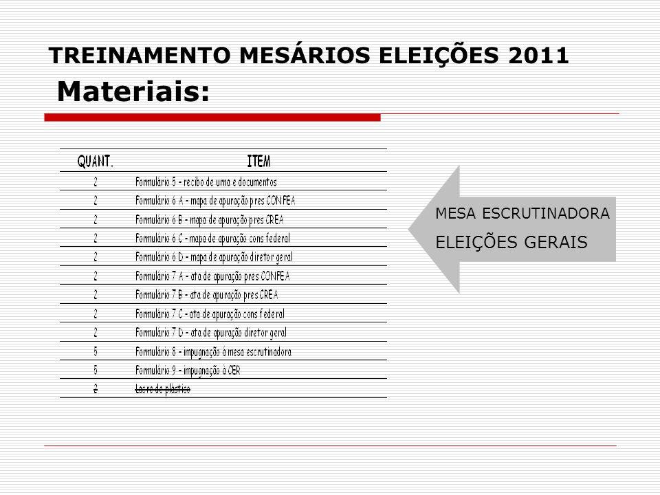 TREINAMENTO MESÁRIOS ELEIÇÕES 2011 MESA ESCRUTINADORA ELEIÇÕES GERAIS Materiais: