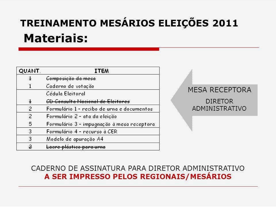 TREINAMENTO MESÁRIOS ELEIÇÕES 2011 MESA RECEPTORA DIRETOR ADMINISTRATIVO Materiais: CADERNO DE ASSINATURA PARA DIRETOR ADMINISTRATIVO A SER IMPRESSO P