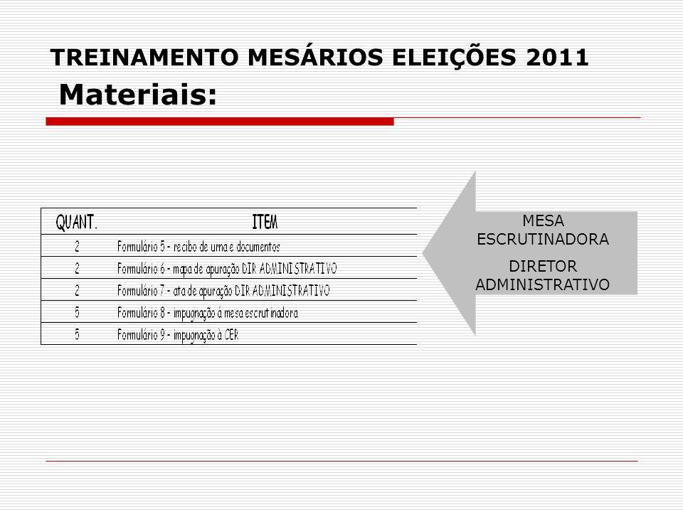 TREINAMENTO MESÁRIOS ELEIÇÕES 2011 MESA ESCRUTINADORA DIRETOR ADMINISTRATIVO Materiais: