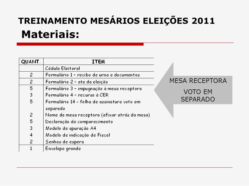 TREINAMENTO MESÁRIOS ELEIÇÕES 2011 MESA RECEPTORA VOTO EM SEPARADO Materiais: