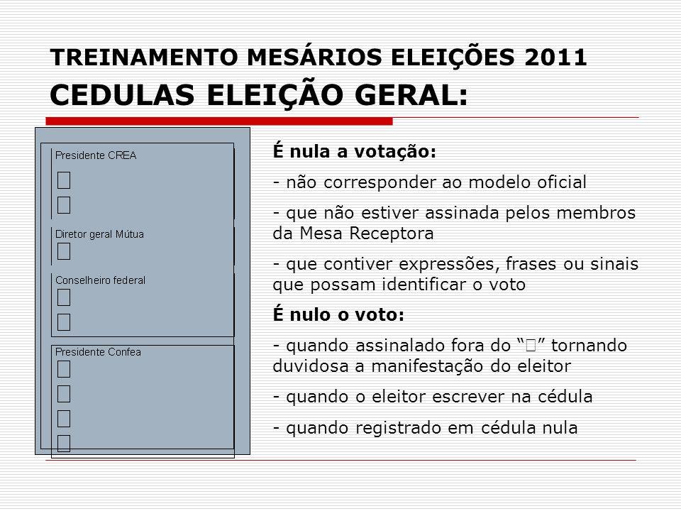 TREINAMENTO MESÁRIOS ELEIÇÕES 2011 CEDULAS ELEIÇÃO GERAL: É nula a votação: - não corresponder ao modelo oficial - que não estiver assinada pelos memb