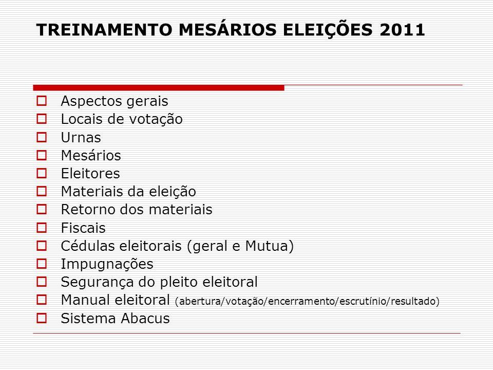TREINAMENTO MESÁRIOS ELEIÇÕES 2011 Aspectos gerais Locais de votação Urnas Mesários Eleitores Materiais da eleição Retorno dos materiais Fiscais Cédul