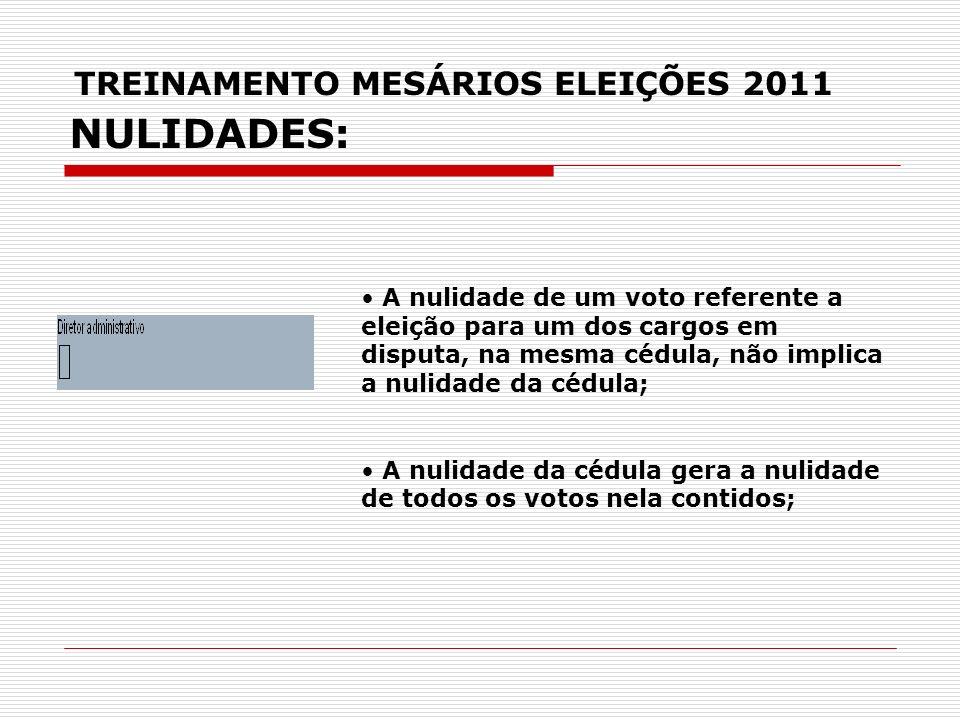 TREINAMENTO MESÁRIOS ELEIÇÕES 2011 NULIDADES: A nulidade de um voto referente a eleição para um dos cargos em disputa, na mesma cédula, não implica a