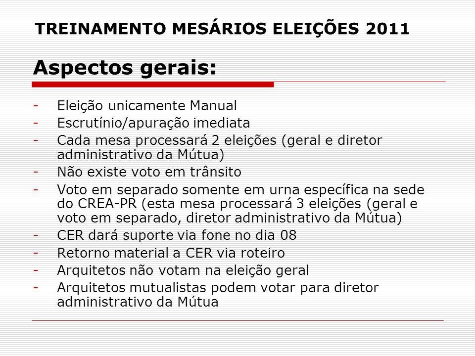 TREINAMENTO MESÁRIOS ELEIÇÕES 2011 Aspectos gerais: -Eleição unicamente Manual -Escrutínio/apuração imediata -Cada mesa processará 2 eleições (geral e