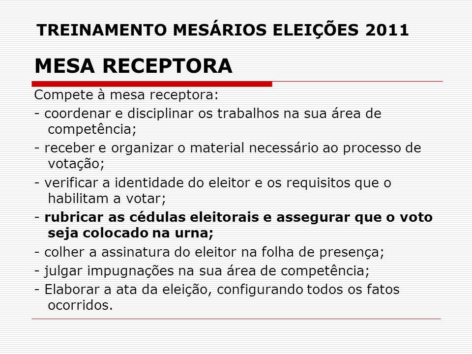 TREINAMENTO MESÁRIOS ELEIÇÕES 2011 MESA RECEPTORA Compete à mesa receptora: - coordenar e disciplinar os trabalhos na sua área de competência; - receb