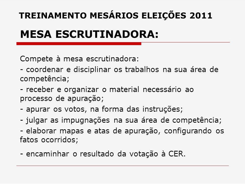 TREINAMENTO MESÁRIOS ELEIÇÕES 2011 MESA ESCRUTINADORA: Compete à mesa escrutinadora: - coordenar e disciplinar os trabalhos na sua área de competência