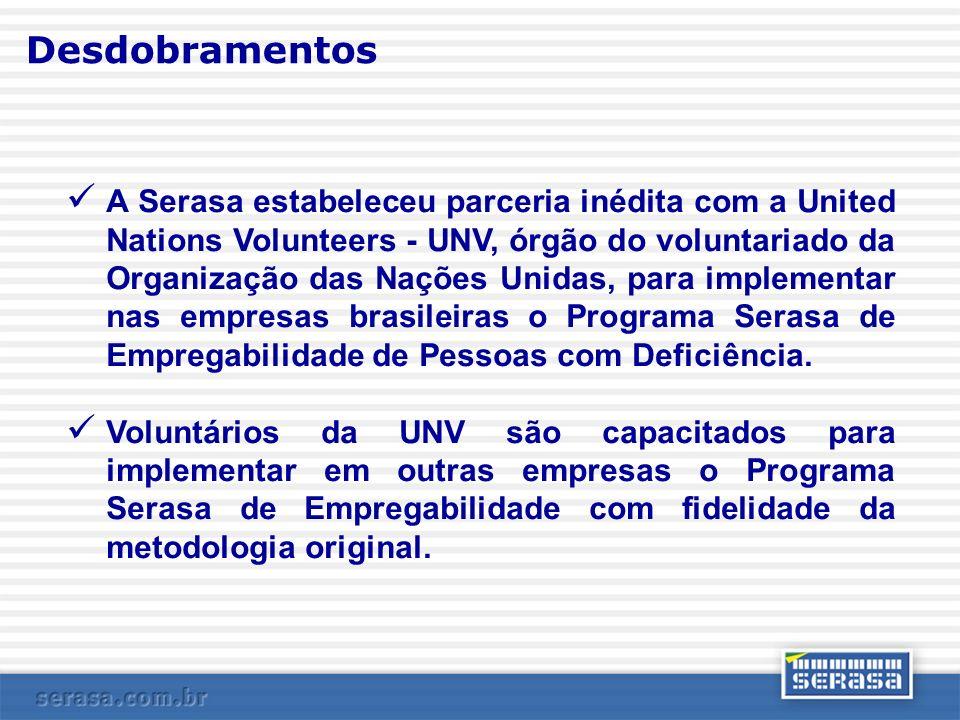 Desdobramentos A Serasa estabeleceu parceria inédita com a United Nations Volunteers - UNV, órgão do voluntariado da Organização das Nações Unidas, pa
