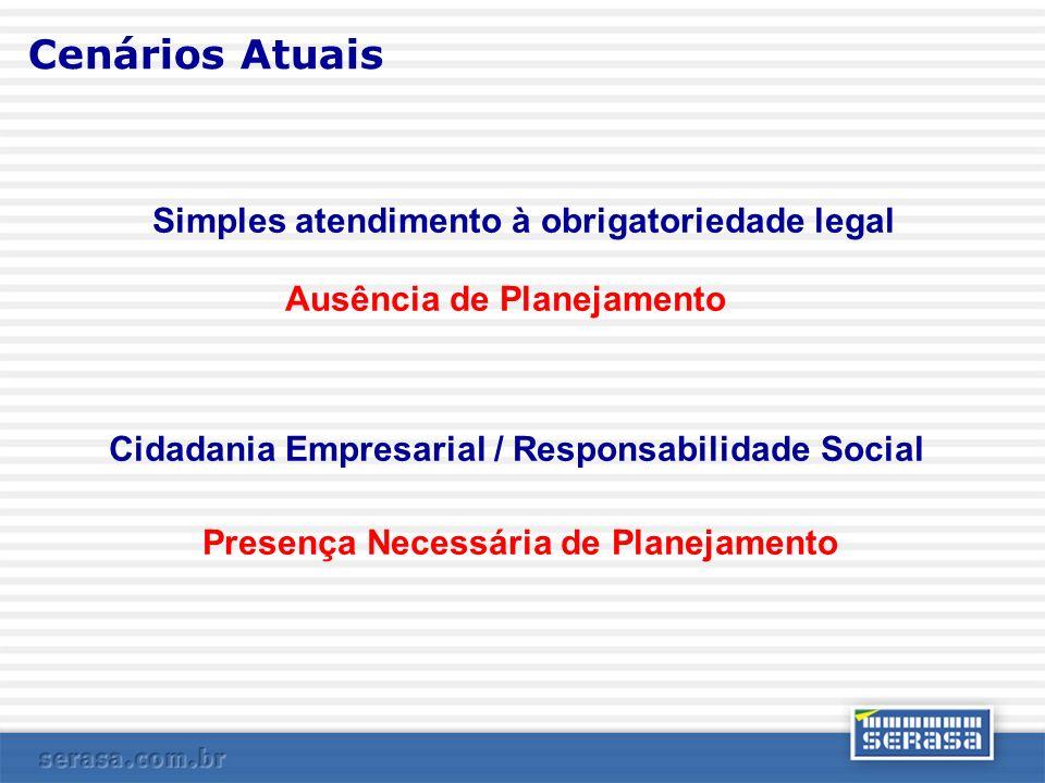 Cenários Atuais Simples atendimento à obrigatoriedade legal Ausência de Planejamento Cidadania Empresarial / Responsabilidade Social Presença Necessár