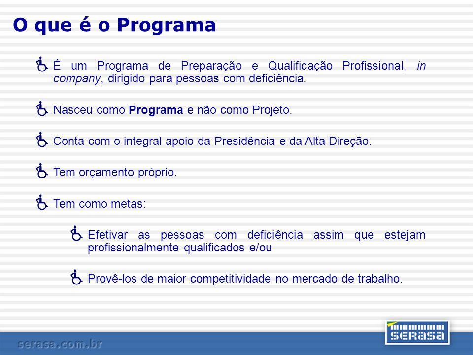 O que é o Programa É um Programa de Preparação e Qualificação Profissional, in company, dirigido para pessoas com deficiência. Nasceu como Programa e
