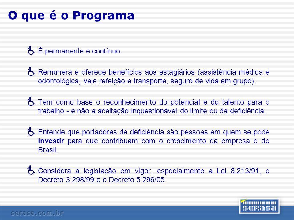 O que é o Programa É permanente e contínuo. Remunera e oferece benefícios aos estagiários (assistência médica e odontológica, vale refeição e transpor
