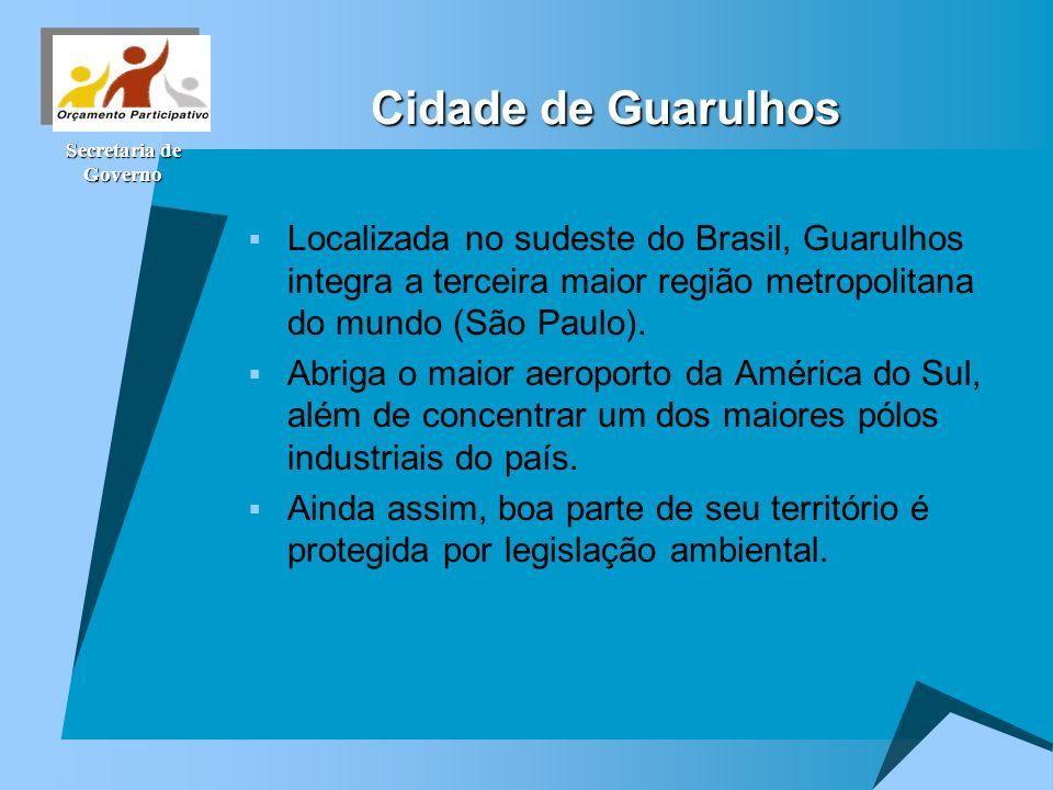 Secretaria de Governo Cidade de Guarulhos Localizada no sudeste do Brasil, Guarulhos integra a terceira maior região metropolitana do mundo (São Paulo