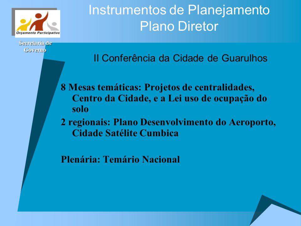 Secretaria de Governo II Conferência da Cidade de Guarulhos 8 Mesas temáticas: Projetos de centralidades, Centro da Cidade, e a Lei uso de ocupação do