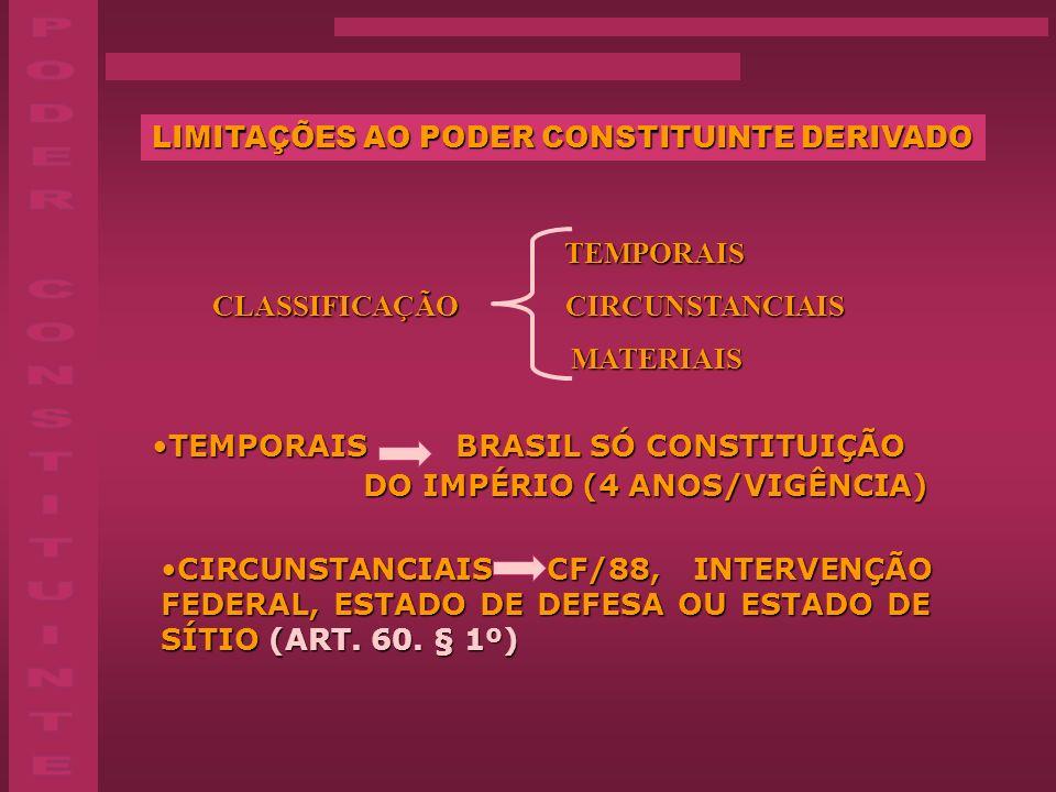 LIMITAÇÕES AO PODER CONSTITUINTE DERIVADO TEMPORAIS CLASSIFICAÇÃO CIRCUNSTANCIAIS CLASSIFICAÇÃO CIRCUNSTANCIAIS MATERIAIS MATERIAIS TEMPORAIS BRASIL S