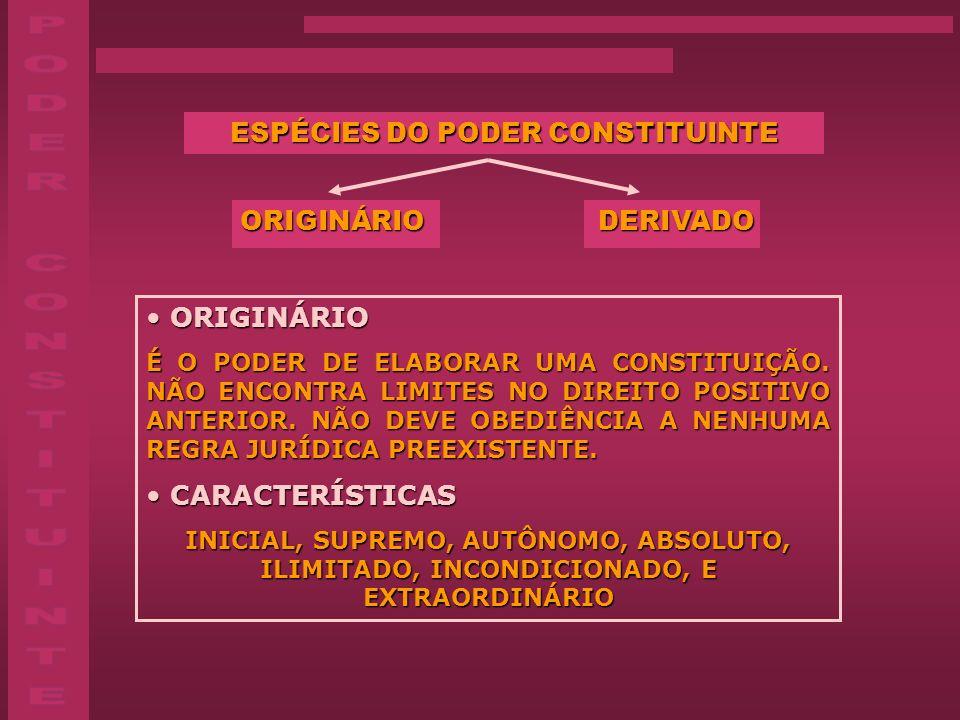 ESPÉCIES DO PODER CONSTITUINTE ORIGINÁRIO DERIVADO ORIGINÁRIO DERIVADO ORIGINÁRIO ORIGINÁRIO É O PODER DE ELABORAR UMA CONSTITUIÇÃO. NÃO ENCONTRA LIMI