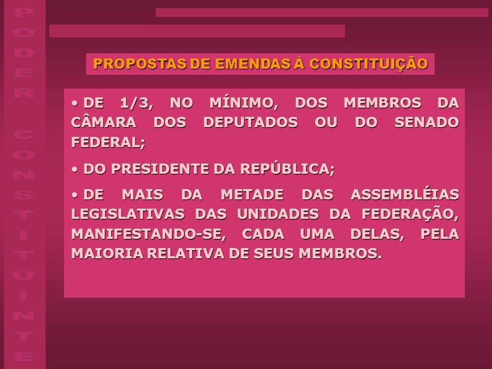 PROPOSTAS DE EMENDAS À CONSTITUIÇÃO DE 1/3, NO MÍNIMO, DOS MEMBROS DA CÂMARA DOS DEPUTADOS OU DO SENADO FEDERAL; DE 1/3, NO MÍNIMO, DOS MEMBROS DA CÂM