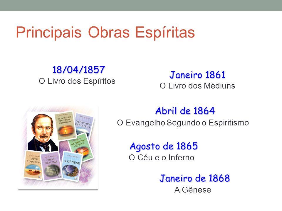 Principais Obras Espíritas 18/04/1857 18/04/1857 O Livro dos Espíritos Janeiro 1861 O Livro dos Médiuns Abril de 1864 Abril de 1864 O Evangelho Segund