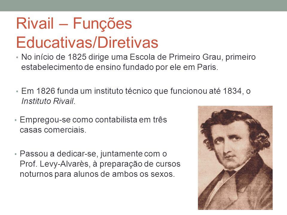 Rivail – Funções Educativas/Diretivas No início de 1825 dirige uma Escola de Primeiro Grau, primeiro estabelecimento de ensino fundado por ele em Paris.